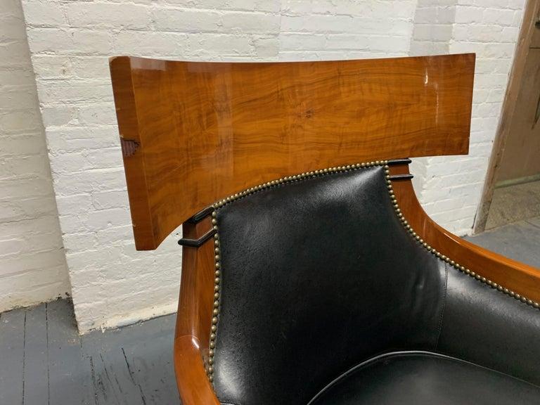 Leather Biedermeier Style Lounge Chair For Sale 1