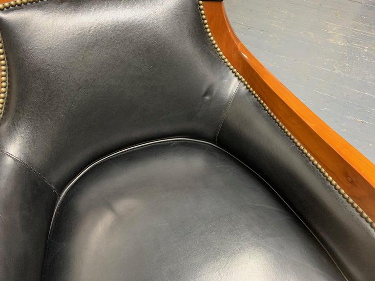 Leather Biedermeier Style Lounge Chair For Sale 2