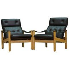 Leather Black Armchair Danish Design Modern Classic, 1960s