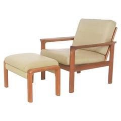 """Leather """"Borneo"""" Lounge Chair & Ottman by Sven Ellekaer for Komfort, Denmark"""
