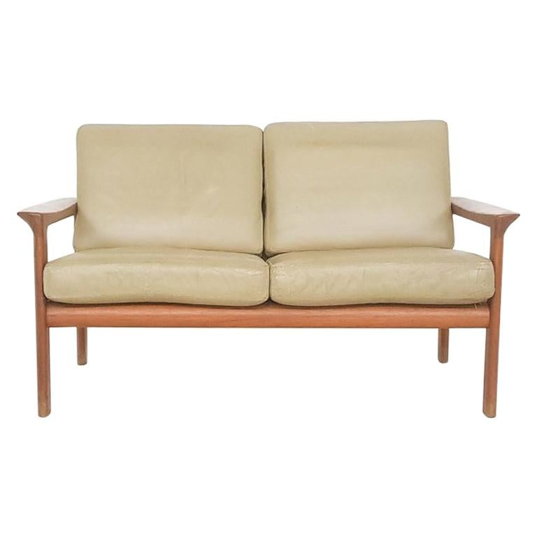 "Leather ""Borneo"" Two-Seat Sofa by Sven Ellekaer for Komfort, Danish Modern 1960s"