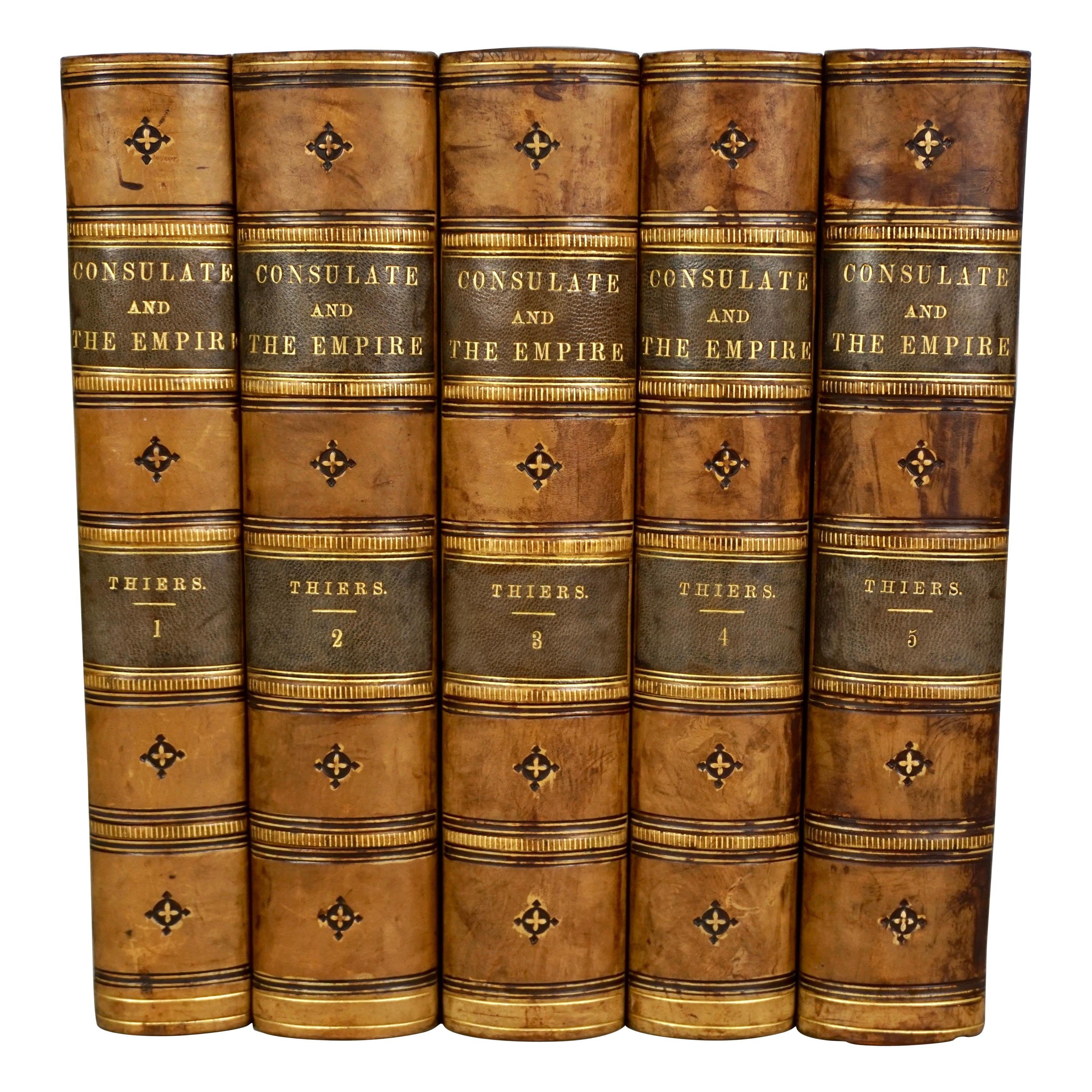 Leather Bound History of Consulate and Empire of France Under Napoleon Thiers