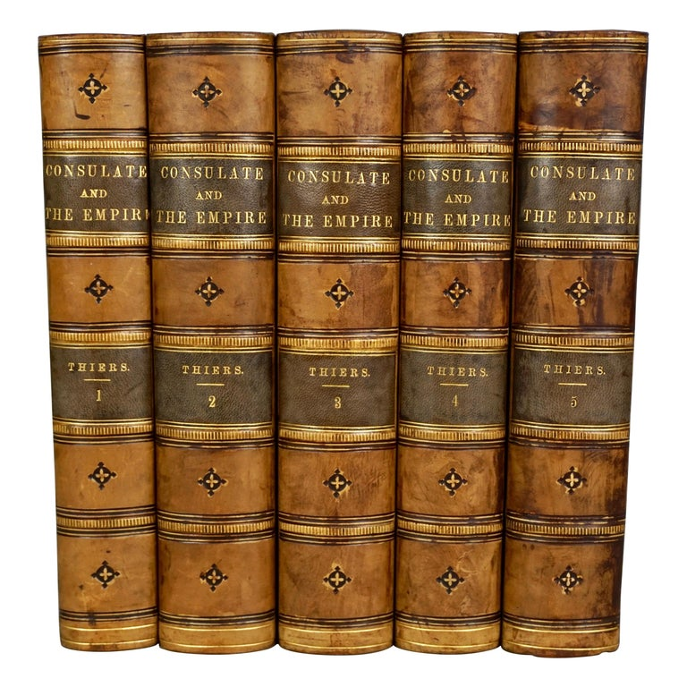 Leather Bound History of Consulate and Empire of France Under Napoleon Thiers For Sale