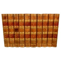 Leather Bound History of England by David Hume and Tobias Smollett in 10 Volumes