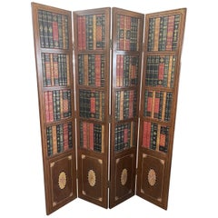 Leather Bound Library Book Four-Panel Folding Screen by Maitland Smith