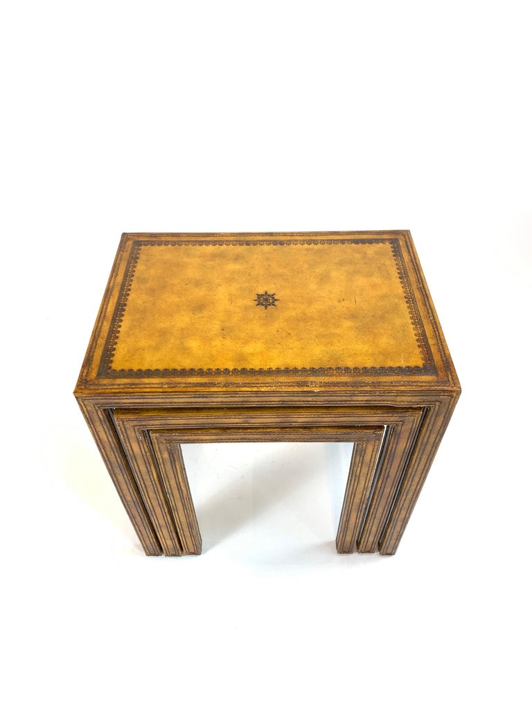 Philippine Leather Clad Nesting Tables by Maitland Smith For Sale