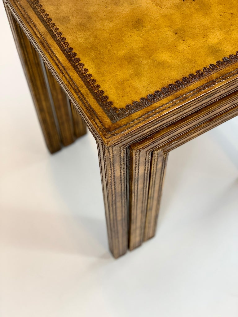 Late 20th Century Leather Clad Nesting Tables by Maitland Smith For Sale