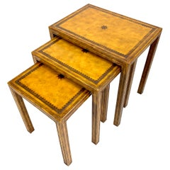 Leather Clad Nesting Tables by Maitland Smith