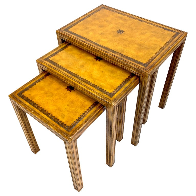 Leather Clad Nesting Tables by Maitland Smith For Sale