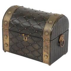 19th Century Regency Brass Studded Leather Box