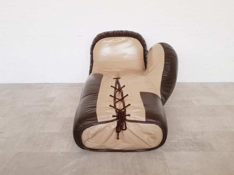 European Leather boxing glove lounge chair by De Sede For Sale