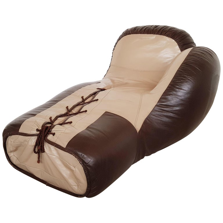 Leather boxing glove lounge chair by De Sede For Sale