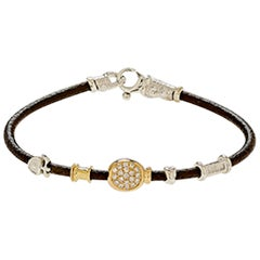 Leather Bracelet with Gold and Small Diamonds