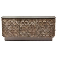 Leather, Brass & Lacquered Timber Contemporary Falcon Sideboard by Egg Designs