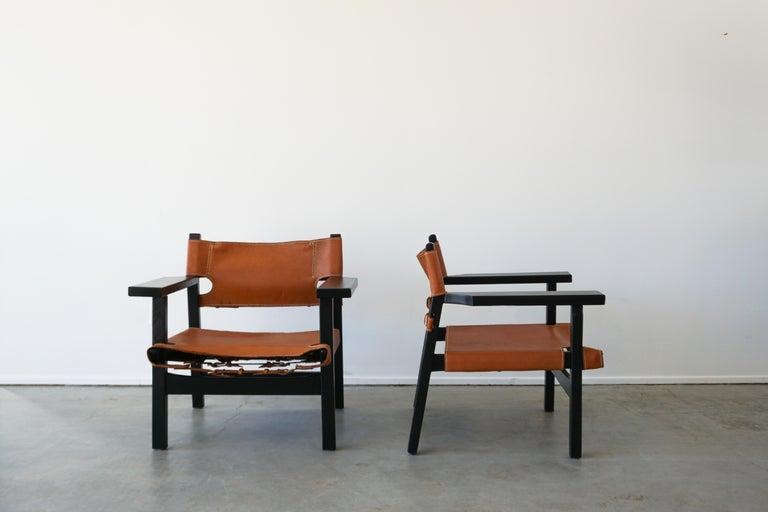 Leather Campaign Chairs In Good Condition For Sale In Los Angeles, CA