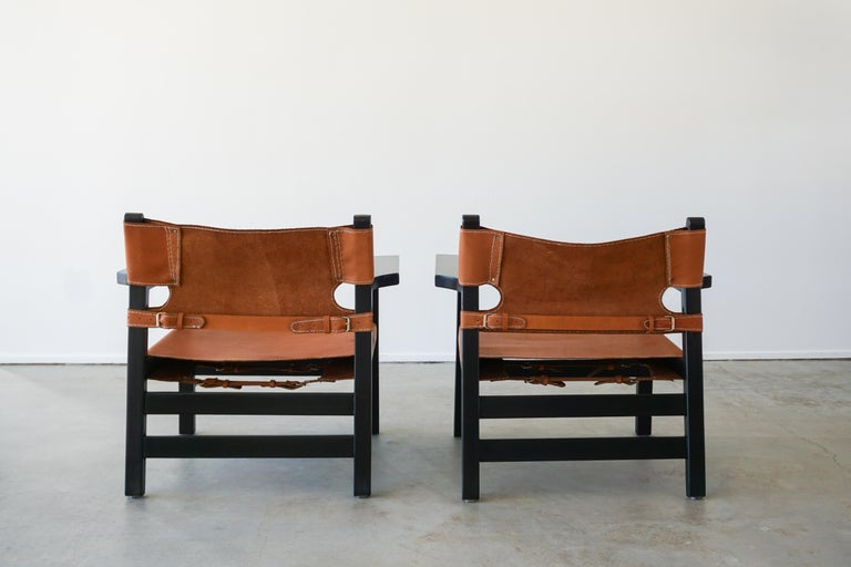 Rosewood Leather Campaign Chairs For Sale