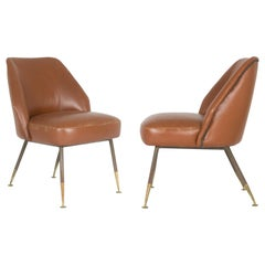 "Leather ""Campanula"" Armchairs by Carlo Pagani for Arflex, 1952, Set of Two"