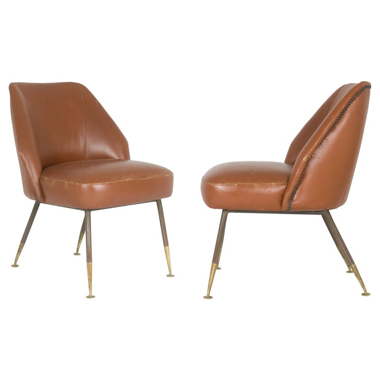 "Leather ""Campanula"" Armchairs by Carlo Pagani for Arflex, 1952, Set of Two For Sale"