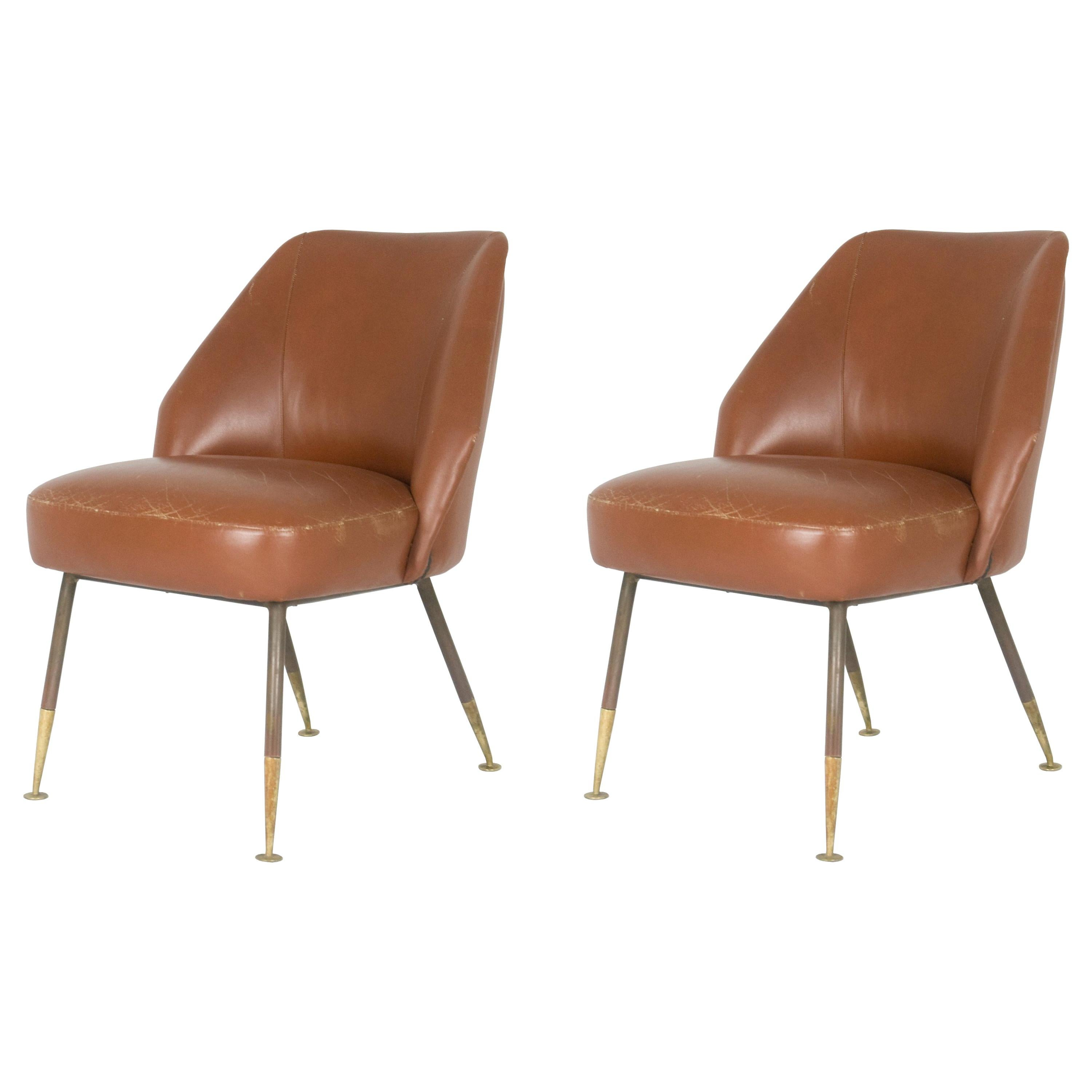 """Leather """"Campanula"""" Chairs by Carlo Pagani for Arflex, 1952, Set of Two"""