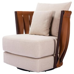 Faux Leather Caramel and Fabric Cream Armchair Niara with Decor Cushions