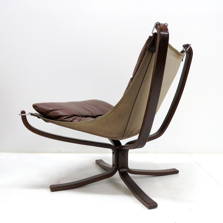 Late 20th Century Leather Chair 'Falcon' by Sigurd Resell, 1970 For Sale