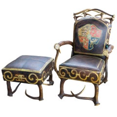 Leather Chair & Ottoman with Austrian Habsburg Antlers & Painted Royal Crest