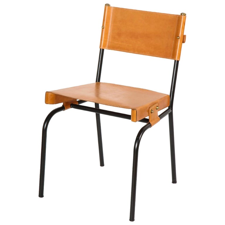 Leather Chairs by Jacques Adnet, France, 1950s For Sale