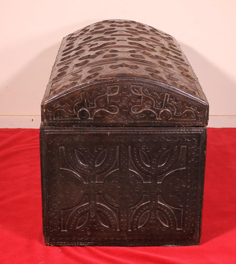 Aesthetic Movement Leather Chest Probably from Cordoba, 19th Century For Sale