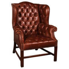 Leather Chesterfield Armchair with Mahogany Base