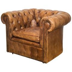 Leather Chesterfield Club Chair, circa 1950-1970