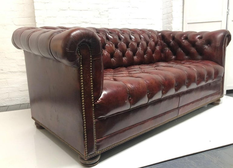 Leather Chesterfield Style Loveseat In Good Condition For Sale In New York, NY