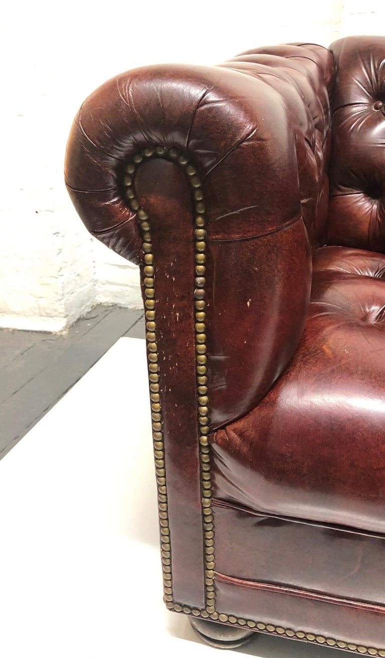 Late 20th Century Leather Chesterfield Style Loveseat For Sale