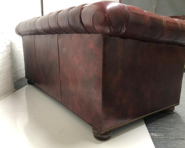 Leather Chesterfield Style Loveseat For Sale 2