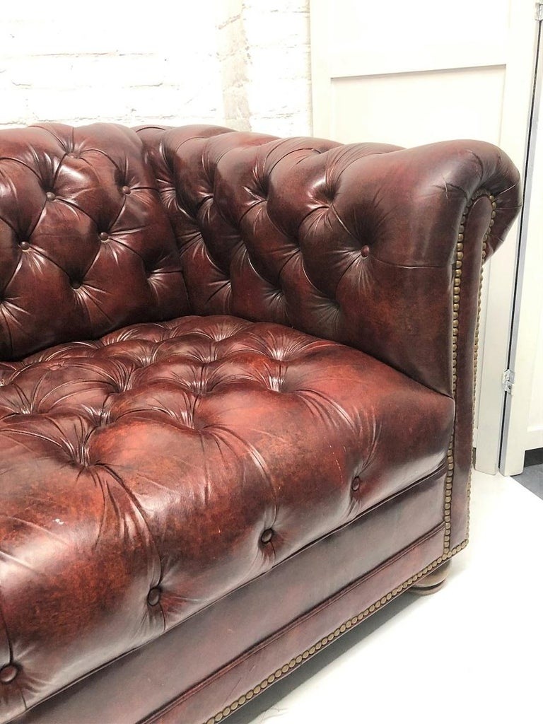 Leather Chesterfield Style Loveseat For Sale 3
