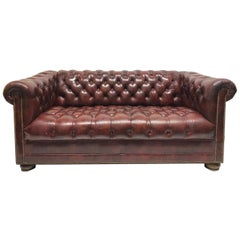 Leather Chesterfield Style Loveseat