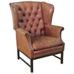 Chippendale Mahogany Leather Chesterfield Style Wingback Fireside Chair