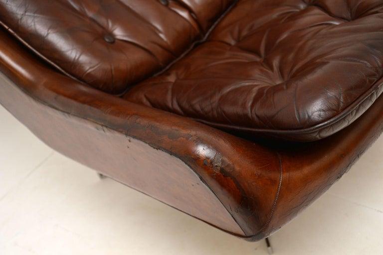 Leather & Chrome Swivel Armchair Vintage, 1960's For Sale 7