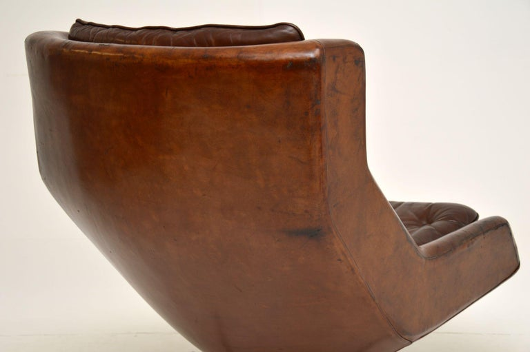 Leather & Chrome Swivel Armchair Vintage, 1960's For Sale 8