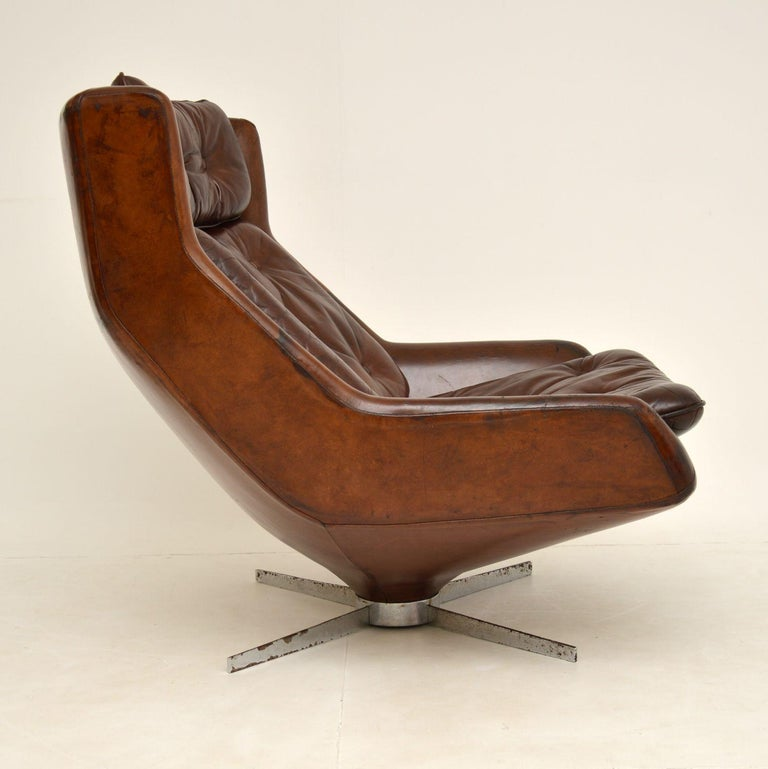 Danish Leather & Chrome Swivel Armchair Vintage, 1960's For Sale