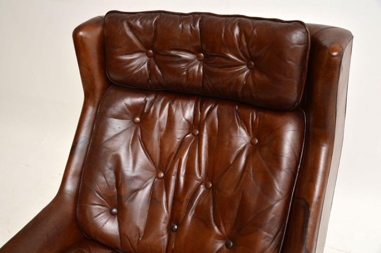 20th Century Leather & Chrome Swivel Armchair Vintage, 1960's For Sale