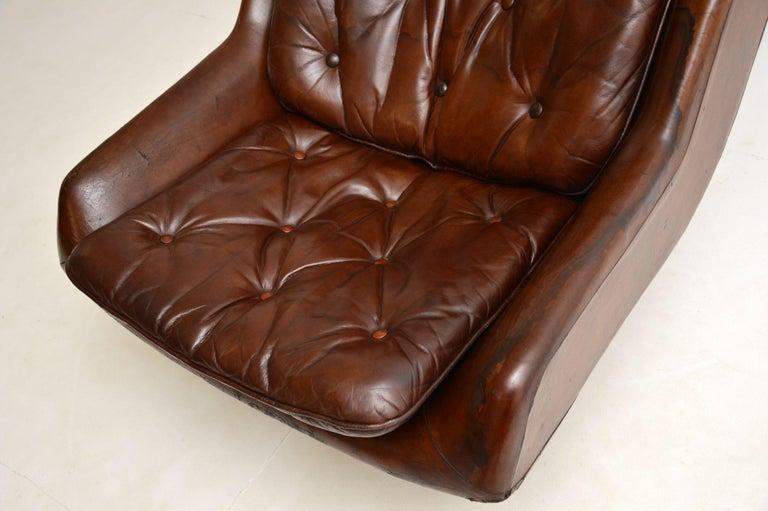 Leather & Chrome Swivel Armchair Vintage, 1960's For Sale 1