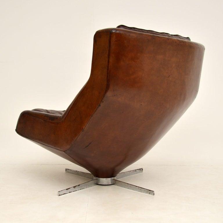 Leather & Chrome Swivel Armchair Vintage, 1960's For Sale 2