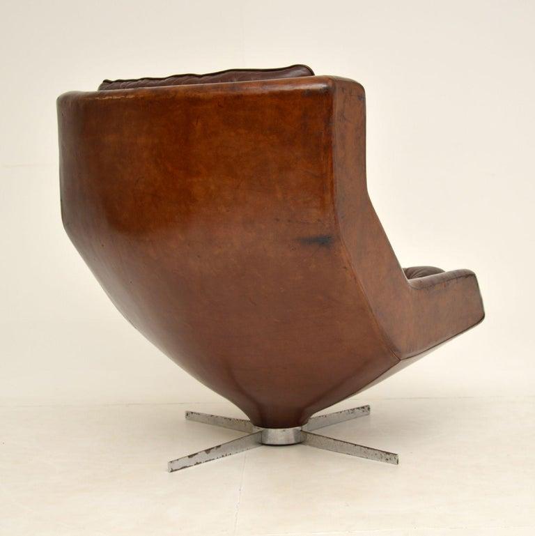 Leather & Chrome Swivel Armchair Vintage, 1960's For Sale 3