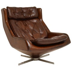 Leather & Chrome Swivel Armchair Vintage, 1960's
