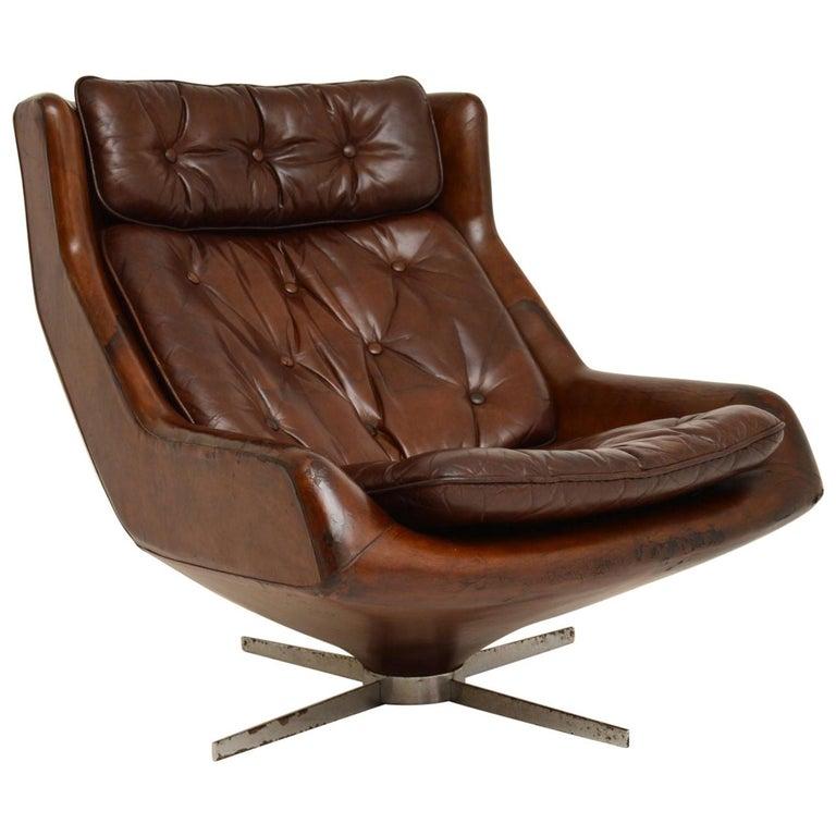 Leather & Chrome Swivel Armchair Vintage, 1960's For Sale