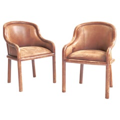 Leather Clad Armchairs Karl Springer