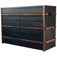 Leather Clad Collingwood Dresser with Oiled Walnut Trim and Darkened Brass