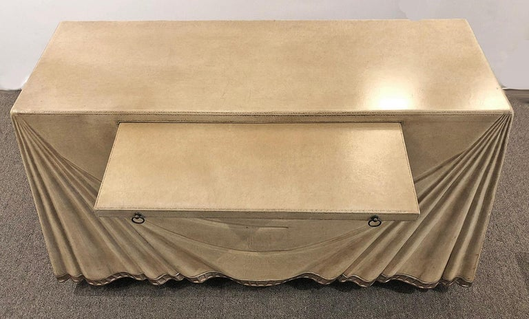 Hollywood Regency Leather Clad Console Table or Serving Table by Marge Carson For Sale