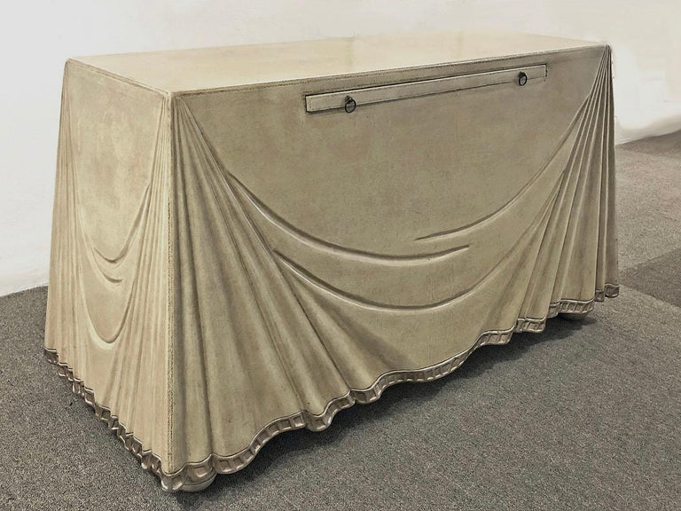 Hand-Carved Leather Clad Console Table or Serving Table by Marge Carson For Sale