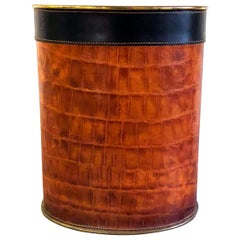 Leather-Clad Umbrella Stand or Wastepaper Bin, 1970s